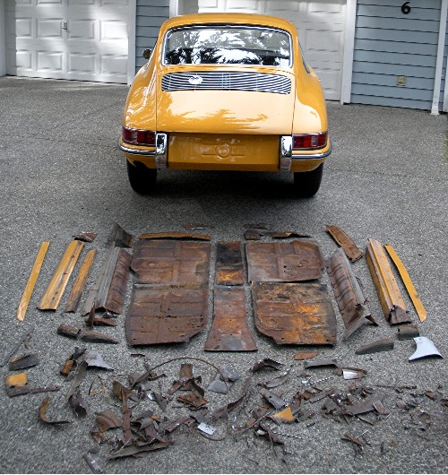 Look at all the rusty sheetmetal removed from my 912 and replaced with new!